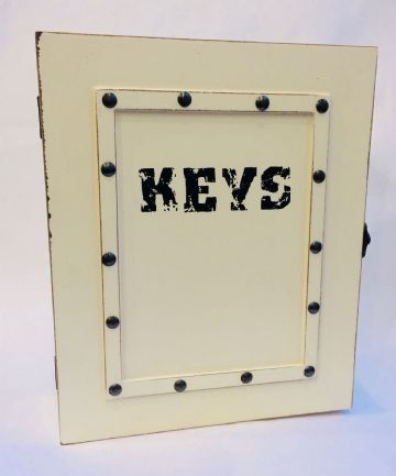 Wooden KEY RACK WALL MOUNTED STORAGE BOX CABINET - CREAM